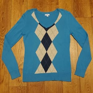 Womens Izod Argyle Blue Sweater size medium